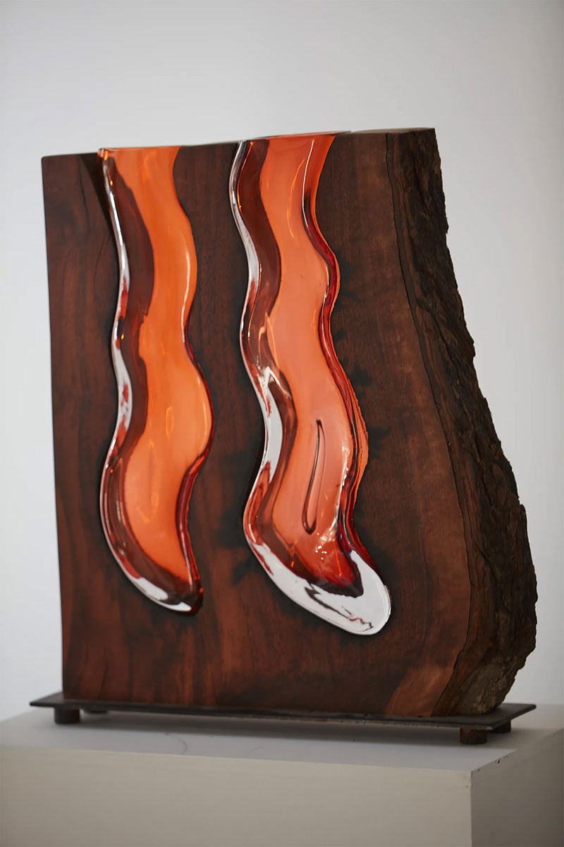 wood and glass by scott slagerman 3 Artist Blows Glass Vases Directly Into Slabs of Live Edge Wood