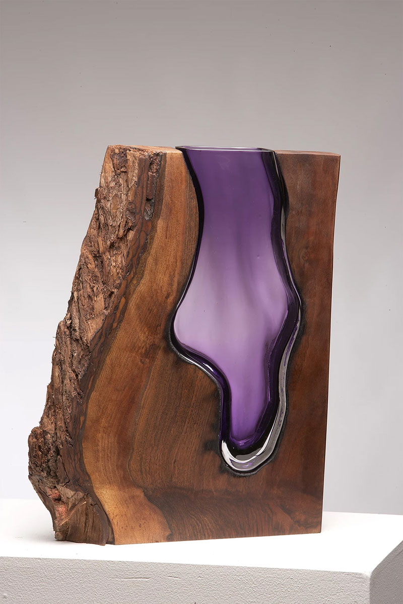 wood and glass by scott slagerman 4 Artist Blows Glass Vases Directly Into Slabs of Live Edge Wood