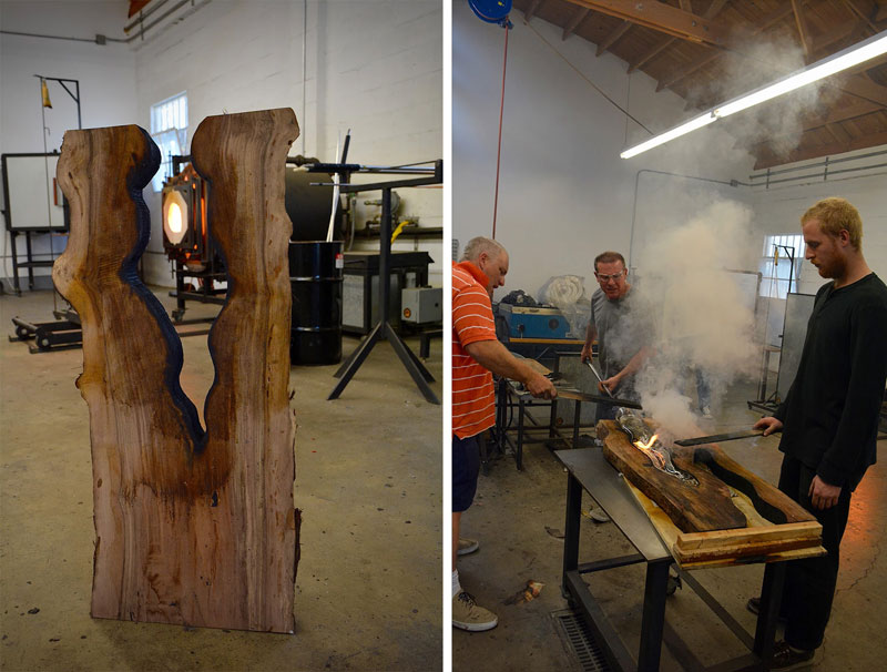 wood and glass by scott slagerman 6 Artist Blows Glass Vases Directly Into Slabs of Live Edge Wood