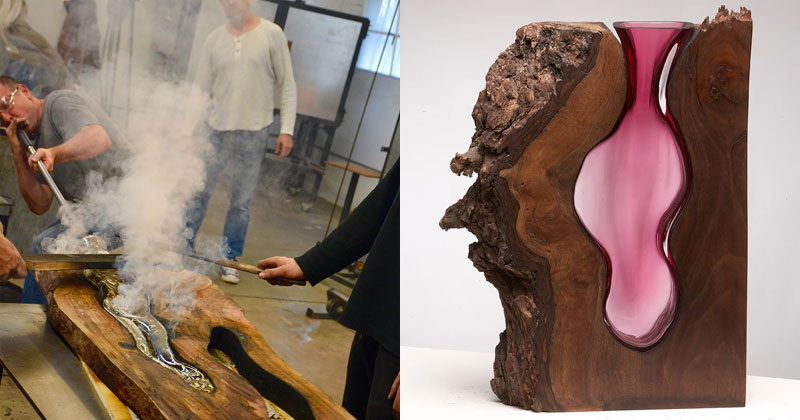Artist Blows Glass Vases Directly Into Slabs of Live EdgeWood