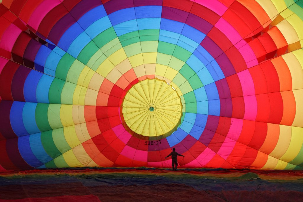 Inflating a Hot Air Balloon in Cappadocia, Turkey