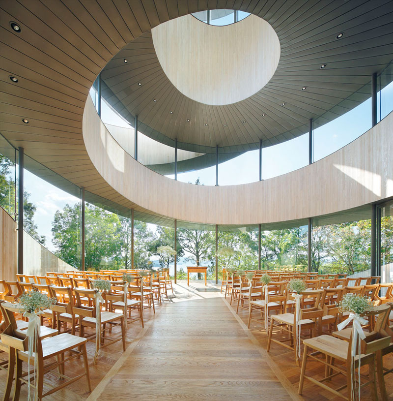 This award winning ribbon wedding chapel in japan is for Award winning architects