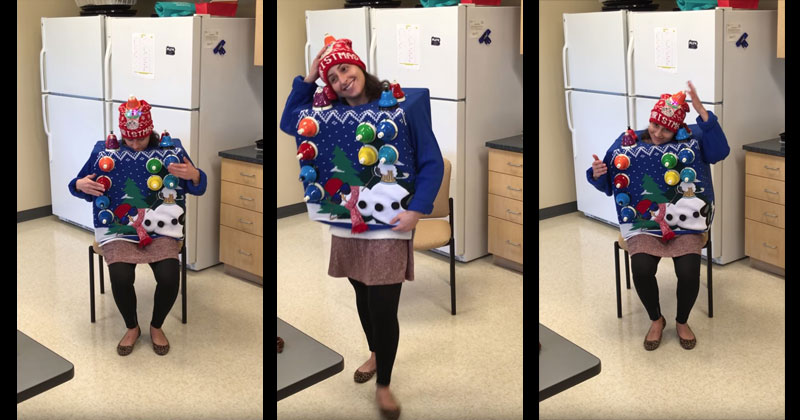 Woman Plays Carol of the Bells on Her Ugly Christmas Sweater