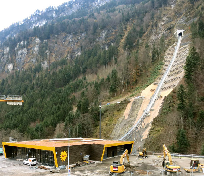 worlds steepest cliff railway opens in switzerland 2 The Worlds Steepest Cliff Railway Just Opened in the Swiss Alps
