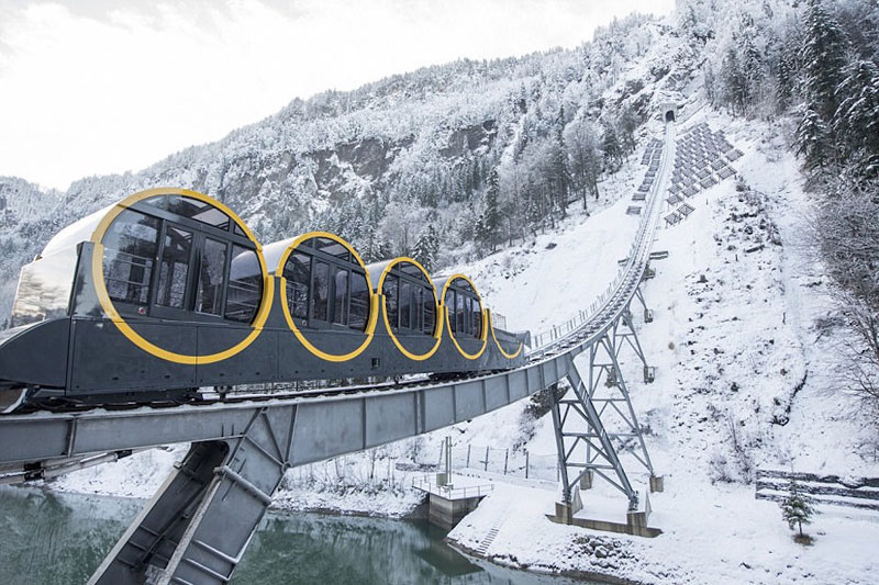 worlds steepest cliff railway opens in switzerland 3 The Worlds Steepest Cliff Railway Just Opened in the Swiss Alps