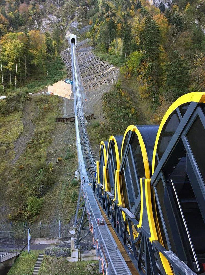 worlds steepest cliff railway opens in switzerland 6 The Worlds Steepest Cliff Railway Just Opened in the Swiss Alps
