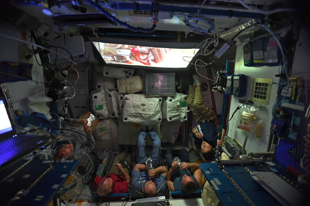Just Some Astronauts Watching Star Wars: The Last Jedi inSpace