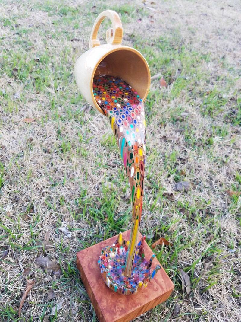 bobby duke sculpts a floating coffee cup pouring out liquid pencil crayons 10 Bobby Duke Sculpts a Floating Coffee Cup Pouring Out Liquid Pencil Crayons