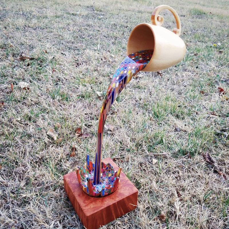 bobby duke sculpts a floating coffee cup pouring out liquid pencil crayons 12 Bobby Duke Sculpts a Floating Coffee Cup Pouring Out Liquid Pencil Crayons