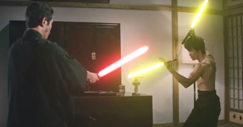 Thank You Kind Internet Stranger for Adding Lightsabers to this Bruce Lee FightScene