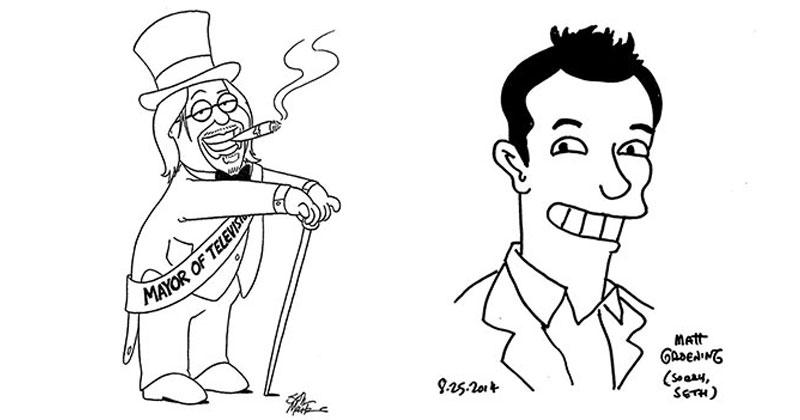 matt groening and seth mcfarlane draw portraits of each other Matt Groening and Seth MacFarlane Drawing Portraits of Each Other