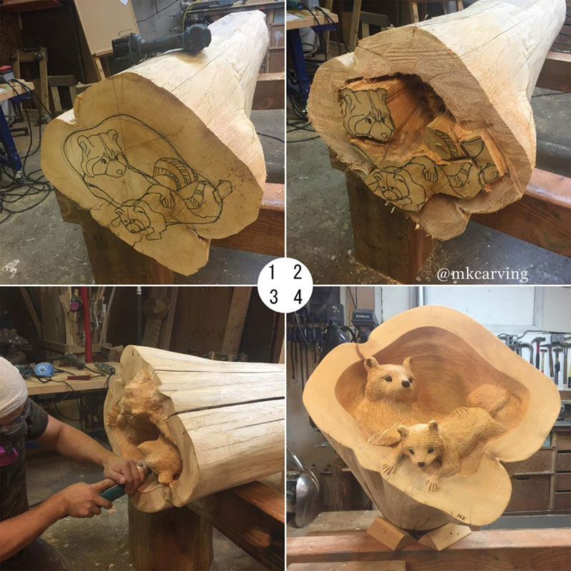 mori kono carves animals crawling out of fallen logs 3 Amazing Artist Carves Animals Crawling Out of Fallen Logs