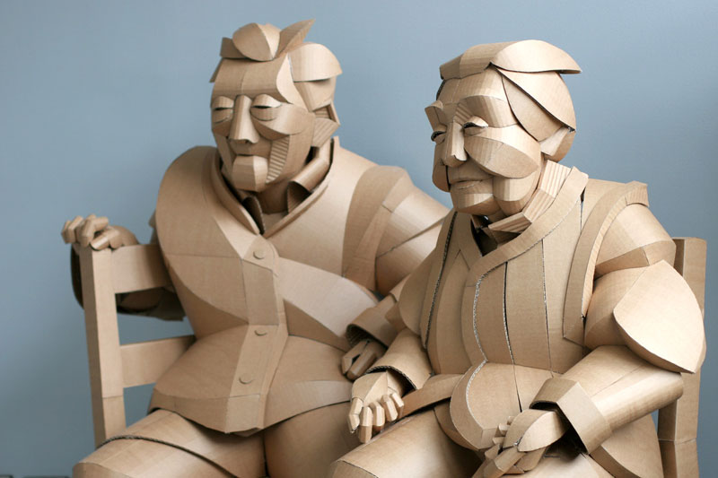 warren king cardboard sculptures 12 Artist Recreates People from Grandparents Village as Life Size Cardboard Sculptures