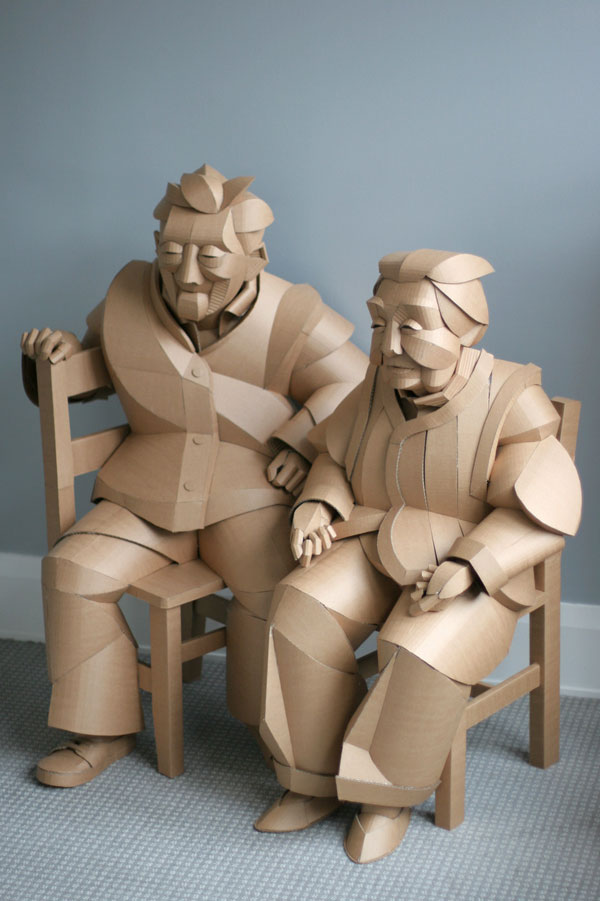 warren king cardboard sculptures 5 Artist Recreates People from Grandparents Village as Life Size Cardboard Sculptures