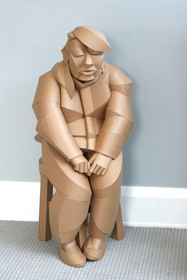 warren king cardboard sculptures 7 Artist Recreates People from Grandparents Village as Life Size Cardboard Sculptures