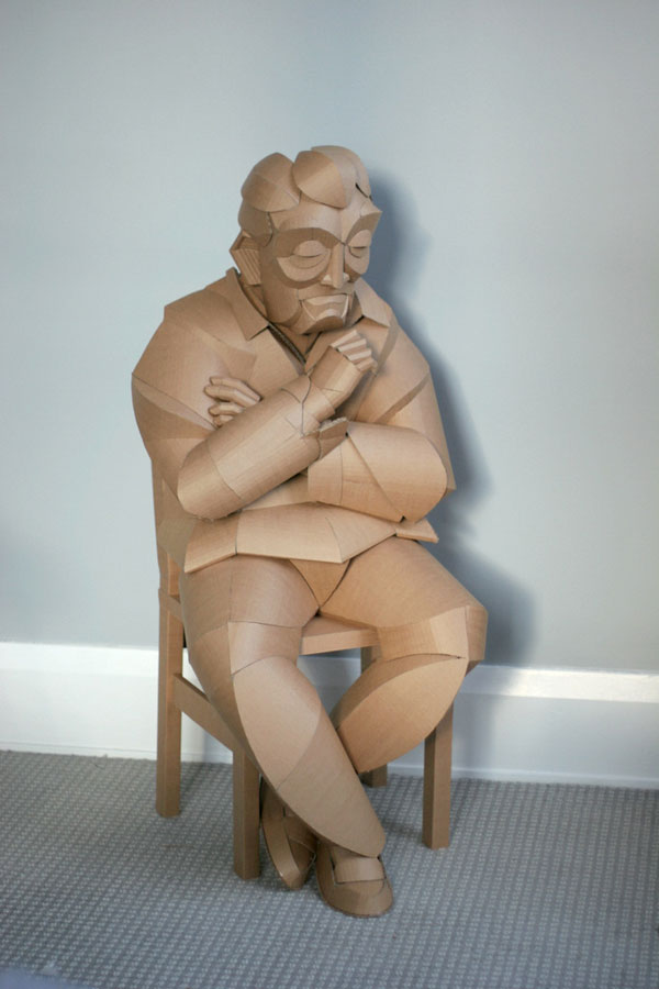 warren king cardboard sculptures 8 Artist Recreates People from Grandparents Village as Life Size Cardboard Sculptures