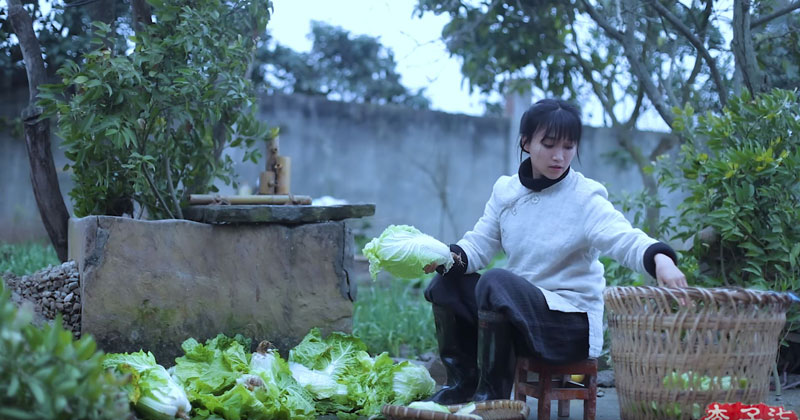 No Dialogue, Just a Beautifully Shot Video of a Woman Making Kimchi from Scratch