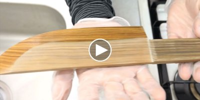 Guy Turns Block of Wood Into Beautiful Kitchen Knife