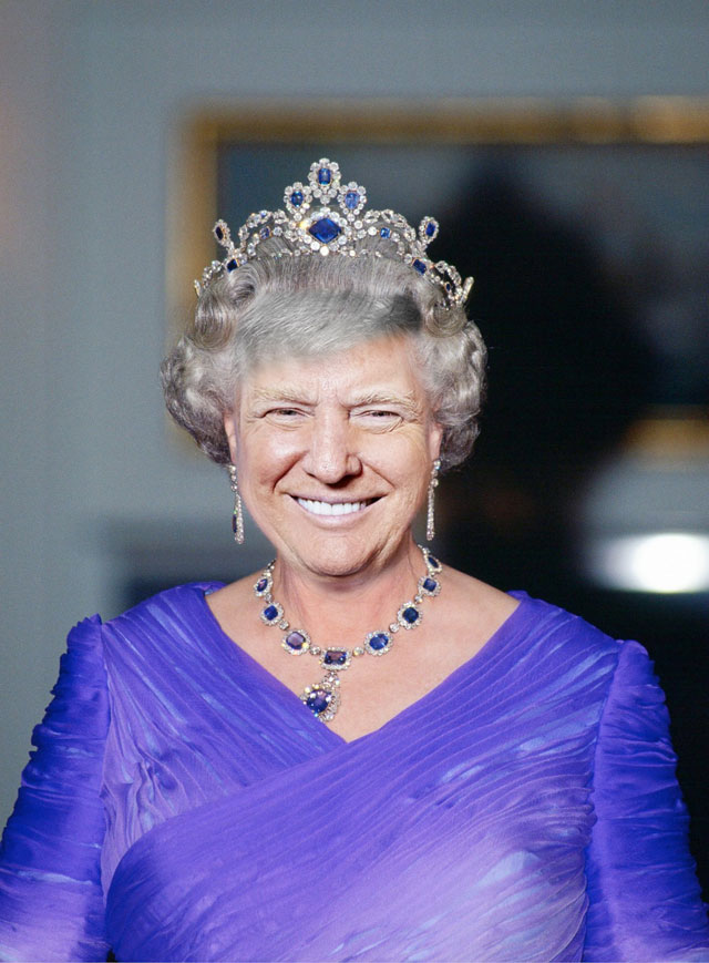 photoshopping trumps face onto the queens 1 This Woman Cant Stop Photoshopping Trumps Face Onto the Queens (Top 50)