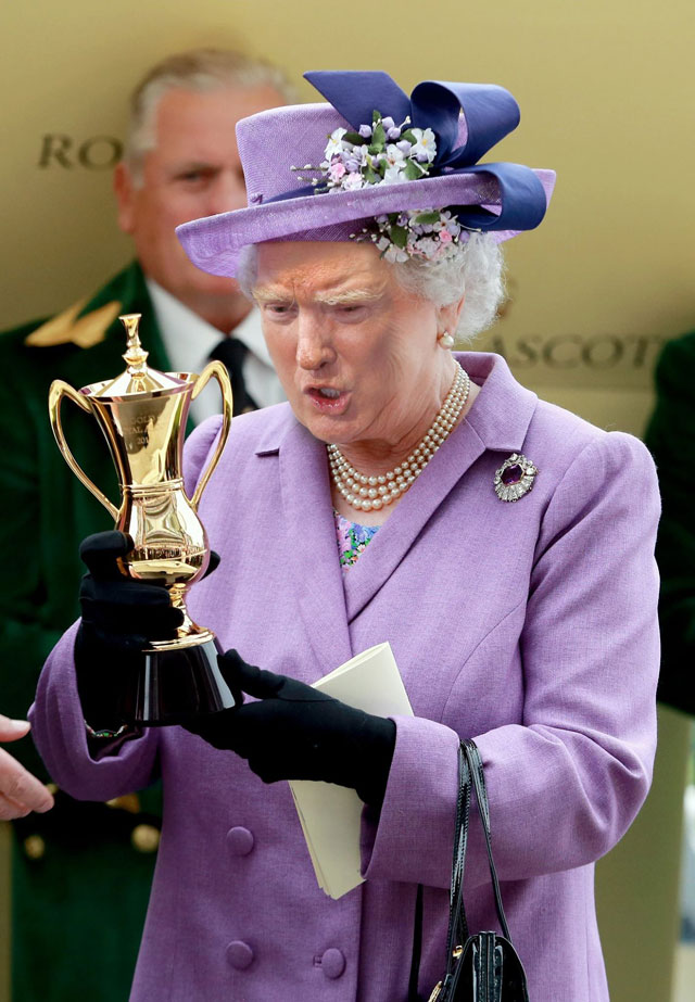 photoshopping trumps face onto the queens 12 This Woman Cant Stop Photoshopping Trumps Face Onto the Queens (Top 50)