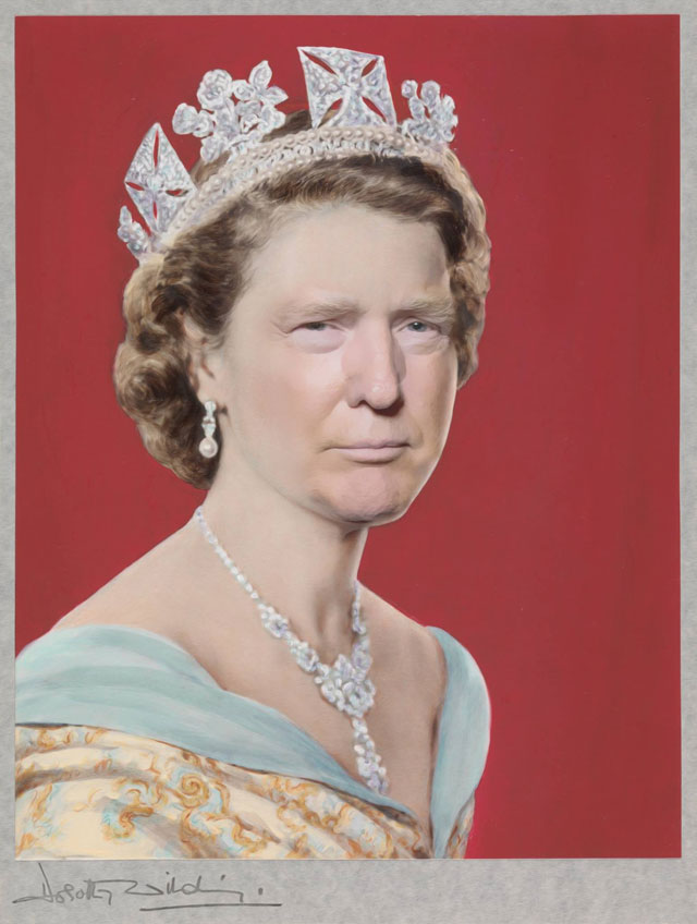 photoshopping trumps face onto the queens 15 This Woman Cant Stop Photoshopping Trumps Face Onto the Queens (Top 50)
