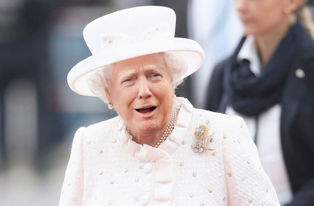photoshopping trumps face onto the queens 17 This Woman Cant Stop Photoshopping Trumps Face Onto the Queens (Top 50)