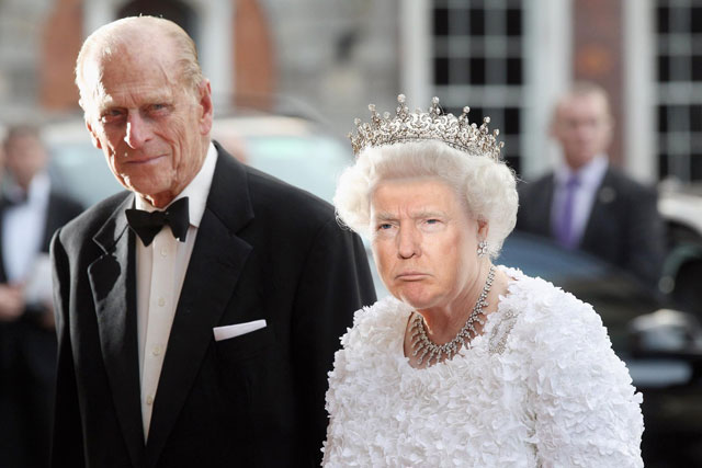 photoshopping trumps face onto the queens 2 This Woman Cant Stop Photoshopping Trumps Face Onto the Queens (Top 50)