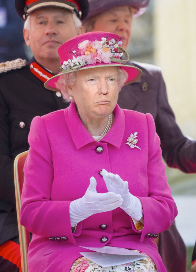 photoshopping trumps face onto the queens 34 This Woman Cant Stop Photoshopping Trumps Face Onto the Queens (Top 50)