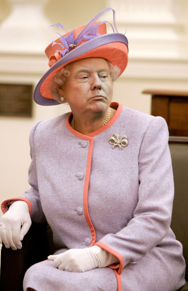 photoshopping trumps face onto the queens 37 This Woman Cant Stop Photoshopping Trumps Face Onto the Queens (Top 50)