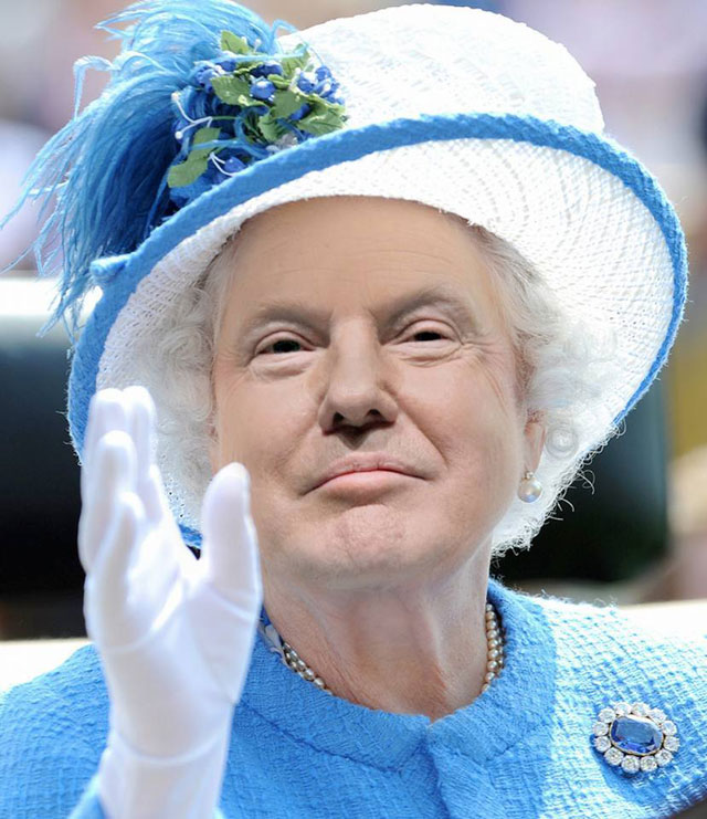 photoshopping trumps face onto the queens 39 This Woman Cant Stop Photoshopping Trumps Face Onto the Queens (Top 50)