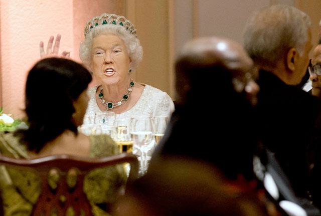 photoshopping trumps face onto the queens 42 This Woman Cant Stop Photoshopping Trumps Face Onto the Queens (Top 50)