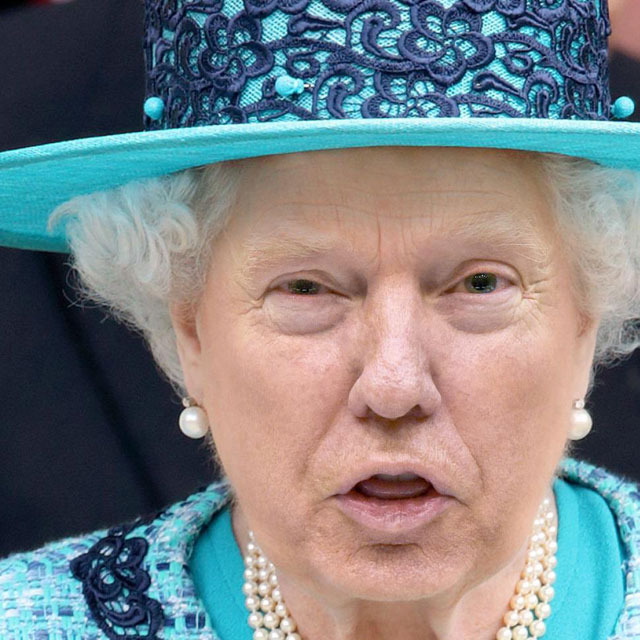 photoshopping trumps face onto the queens 44 This Woman Cant Stop Photoshopping Trumps Face Onto the Queens (Top 50)