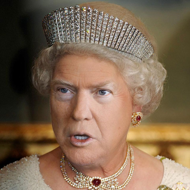 photoshopping trumps face onto the queens 45 This Woman Cant Stop Photoshopping Trumps Face Onto the Queens (Top 50)