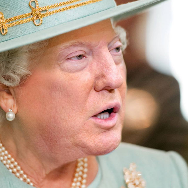 photoshopping trumps face onto the queens 46 This Woman Cant Stop Photoshopping Trumps Face Onto the Queens (Top 50)