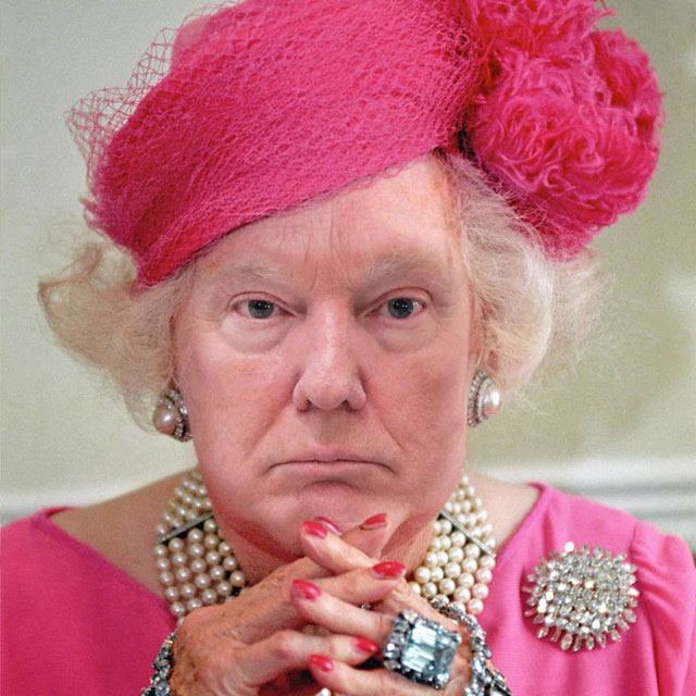 photoshopping trumps face onto the queens 48 This Woman Cant Stop Photoshopping Trumps Face Onto the Queens (Top 50)