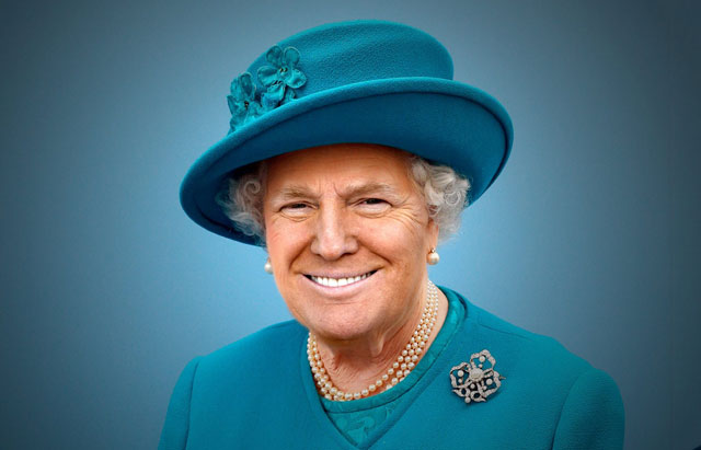 photoshopping trumps face onto the queens 9 This Woman Cant Stop Photoshopping Trumps Face Onto the Queens (Top 50)