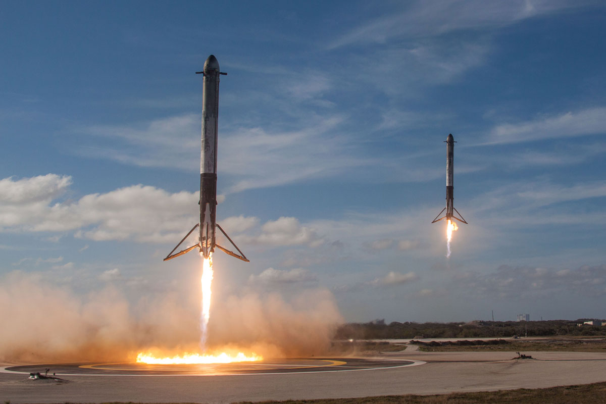 spacex falcon heavy launch tesla to mars 1 SpaceX Just Launched the Worlds Most Powerful Rocket and Sent a Tesla to Mars