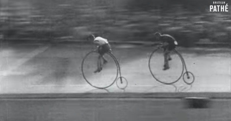 Amazing Footage from 1928 of a Penny Farthing (Boneshaker)Race