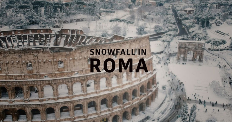 Drone Captures Rare Snowfall in Rome fromAbove