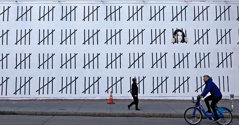 new banksy works in new york city 2018 4 New Banksys Appear in NYC, Including Giant Mural of Imprisoned Artist