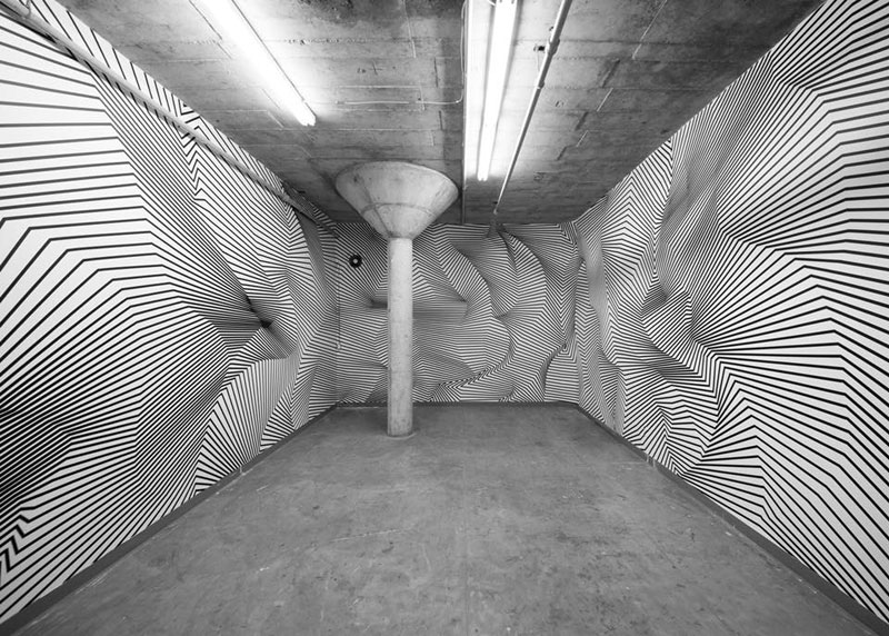 tape art installations by darel carey 10 Mesmerizing Tape Art Installations by Darel Carey