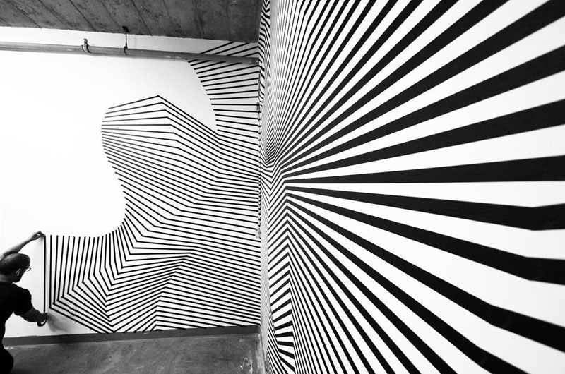 tape art installations by darel carey 2 Mesmerizing Tape Art Installations by Darel Carey