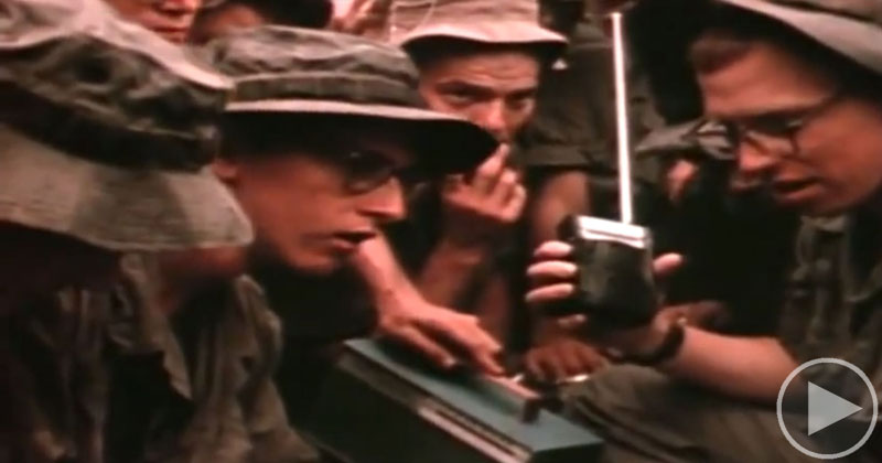 US Soldiers in Vietnam Hearing a Radio Report That They're Going Home