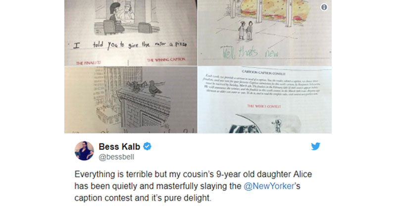 This 9-Year-Old Girl Loves the New Yorker's Cartoon Caption Contest