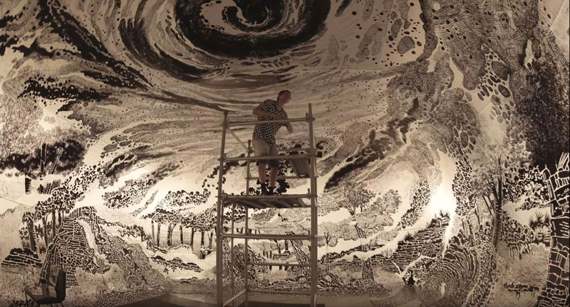 oscar oiwa uses 120 sharpies to create giant 360 drawing inside inflatable balloon 12 Artist Uses 120 Sharpies to Create Giant 360 Drawing Inside Inflatable Balloon
