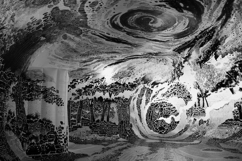 oscar oiwa uses 120 sharpies to create giant 360 drawing inside inflatable balloon 8 Artist Uses 120 Sharpies to Create Giant 360 Drawing Inside Inflatable Balloon