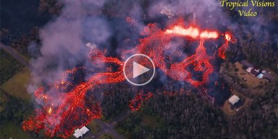 Helicopter Captures Terrifying Fissure Eruptions in Hawaii fromAbove