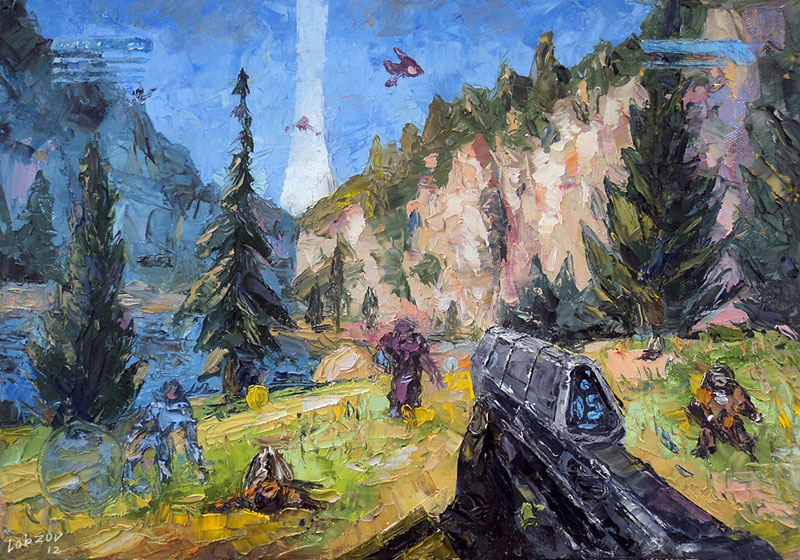 nikolay lobzov 08halo oil Artist Pays Homage to Classic Video Games with Awesome Oil Paintings