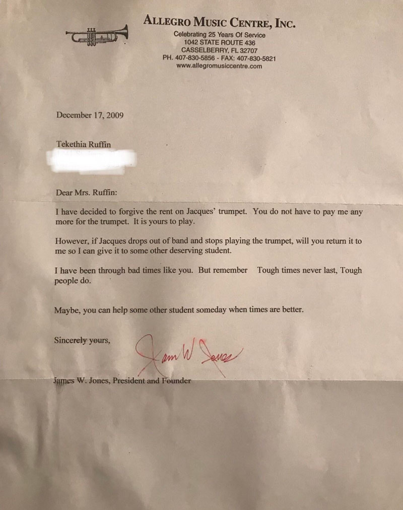 reddit letter trumpet kindness of strangers Son Finds Old Letter Sent to His Mom and You Can See Why She Saved It