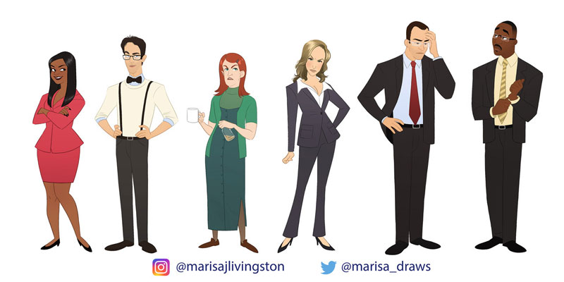 cast of the office as cartoon characters by marisa livingston 16 What Each Character Would Look Like in a Cartoon Version of The Office